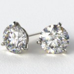 My Russian Diamond 18K White Gold Martini Stud Earrings