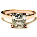 1.25CT Square Cushion Cut 9K Rose Gold Engagement Ring