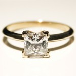 Princess Cut My Russian Diamond Solitaire Engagement Ring
